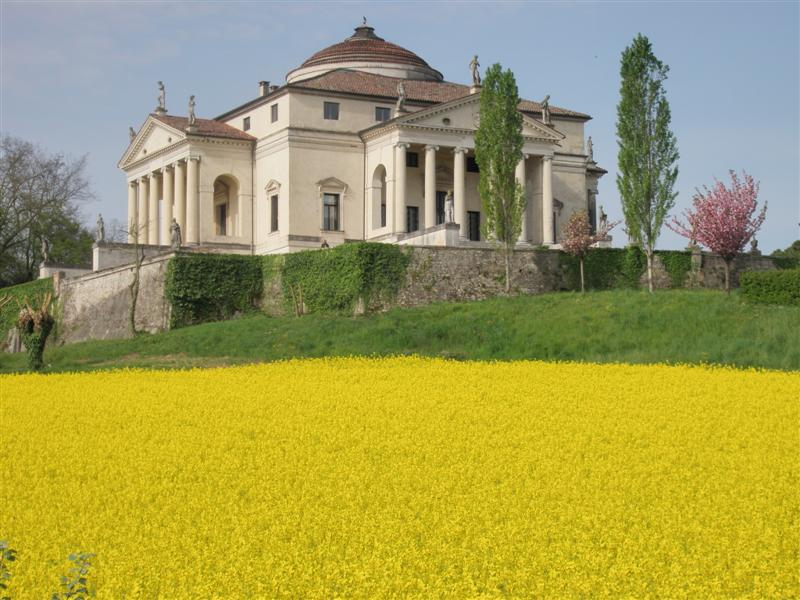 Villa La Rotonda, Vicenza, Italy, surrounded by a bright yellow rapeseed field. Foto di Sebastiano Romio